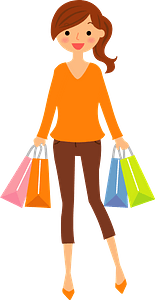 Woman is Shopping Bag clipart