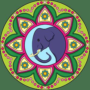 Rangoli with elephant clipart