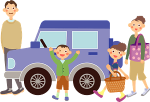 Family is Ready to Drive Their Car clipart
