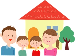 Family is in front of their home clipart