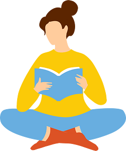 Woman is reading book clipart