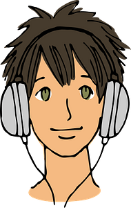 Young Man is Wearing Large Headphones clipart