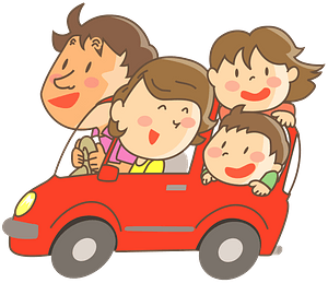 Family is on a road trip clipart