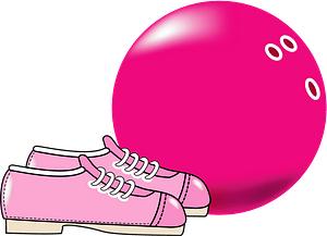 Pink bowling ball and shoes clipart