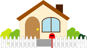 House with a White Picket Fence clipart