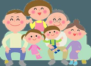 Three Generation Family Around the Sofa clipart