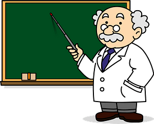 Professor is Teaching a Lesson at the Blackboard clipart