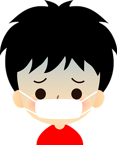 Boy is Sick with a Cold clipart