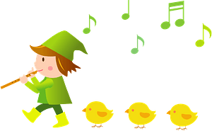 Boy is Playing the Recorder and is Followed by a Line of Chicks clipart