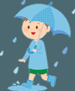 Boy is Under an Umbrella in the Rain clipart