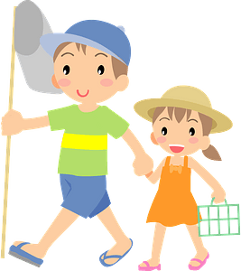 Brother and Sister are Catching Insects clipart