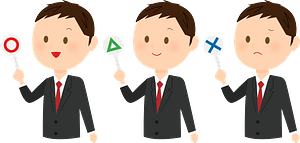 (Andrew) Businessman is Holding O, Triangle, and X Signs clipart