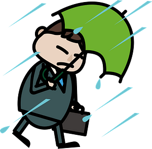 Businessman is Using an Umbrella in the Rain clipart