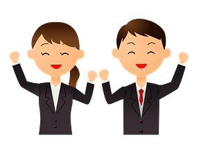 Businessman and Businesswoman Are Expressing Joy clipart