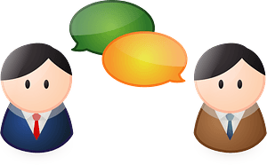Business Men with Their Speech Bubbles clipart