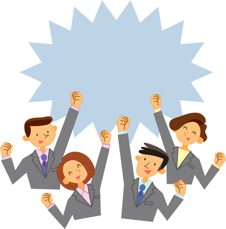 Business Persons Are Pumping Their Fists clipart