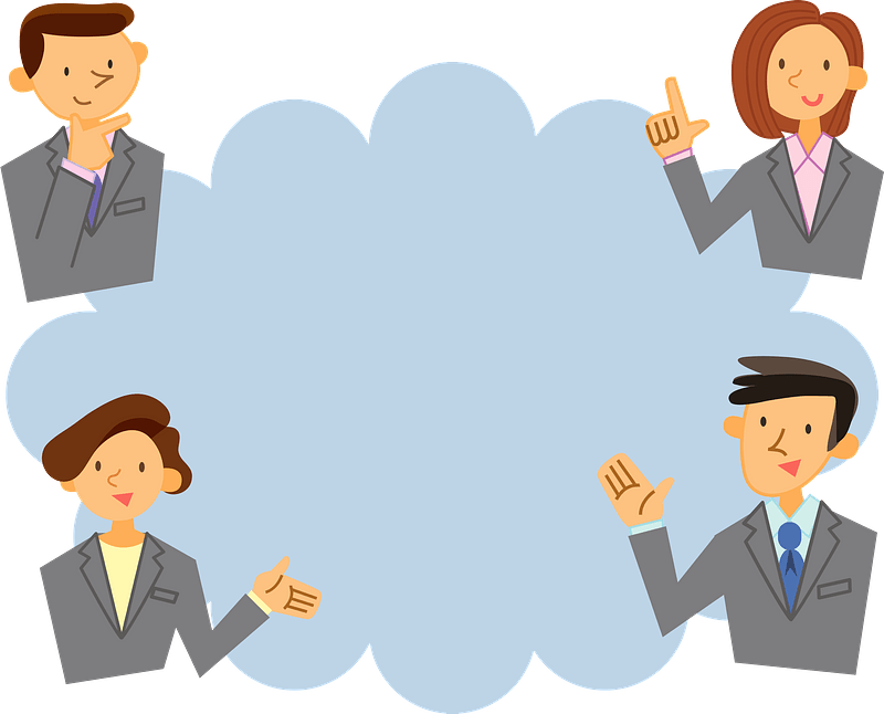 Business Persons Around a Speech Bubble clipart