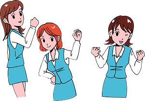 Business Women Are Pumping Their Fists clipart