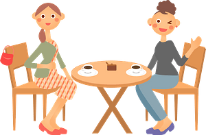 Women are Having Coffee in a Cafe clipart