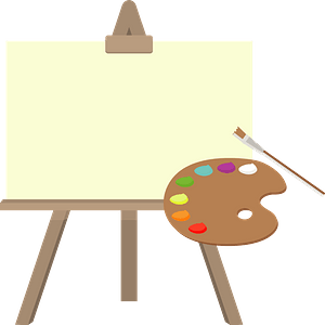 Art Canvas on an Easel and Paint Palette clipart