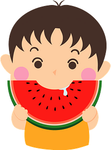 Boy is Eating Watermelon clipart