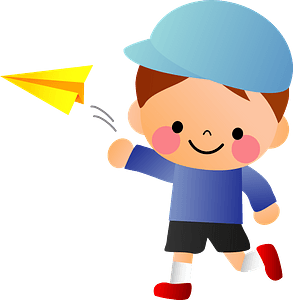 Boy is Throwing a Paper Airplane clipart