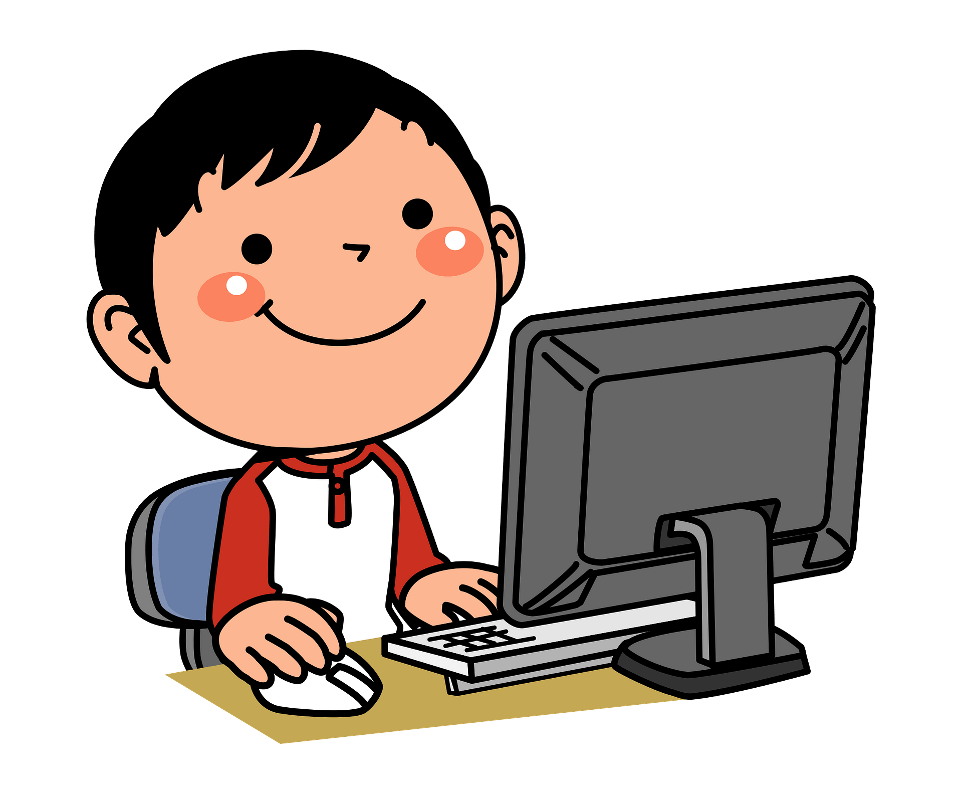 Boy is Playing on the Computer clipart. Free download transparent .PNG |  Creazilla
