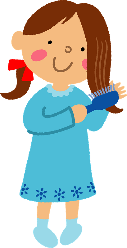 A teenager combing her hair Royalty Free Vector Image