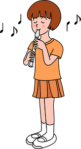 Girl is Playing Recorder clipart