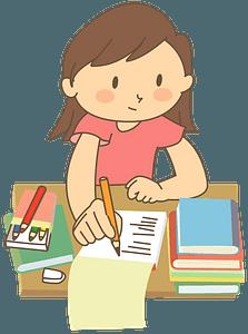 Girl is Studying Her Homework clipart