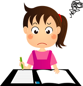 Girl is Studying clipart