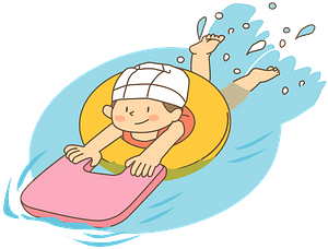 Girl is Swimming with Floaties clipart