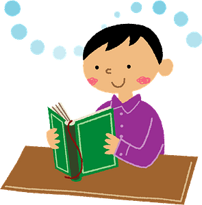 Child is Reading a Book clipart