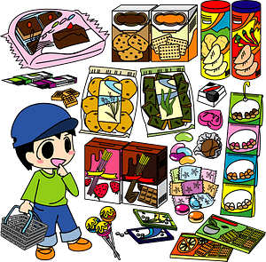 Child is Shopping for Sweets clipart