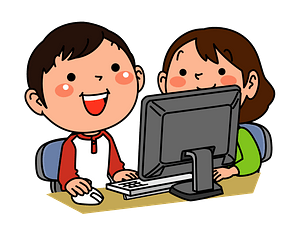 Children are Playing on the Computer clipart