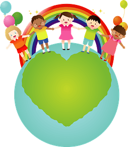 A Line of Children in Front of a Rainbow on top of the World clipart