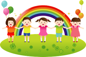 A Line of Children in Front of a Rainbow clipart
