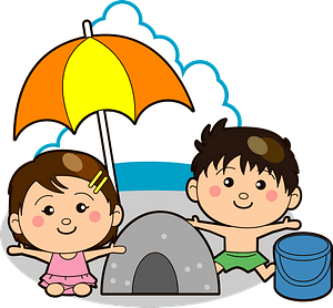 Children are Playing in the Sand clipart