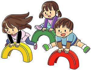 Children are Playing Leap Frog with Tires at the Park clipart