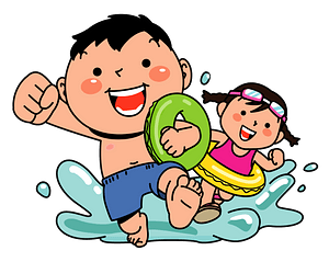 Children are Playing in the Water clipart