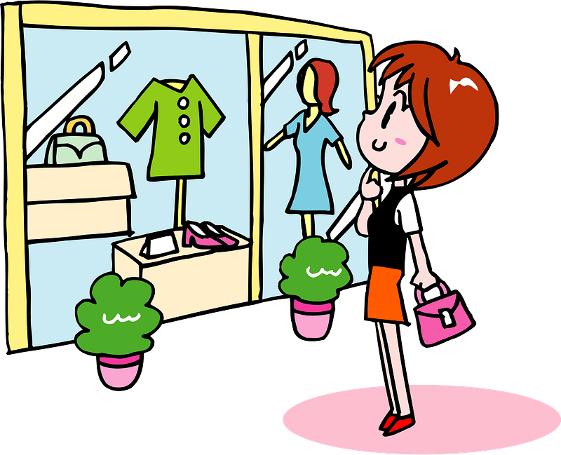 Woman is Shopping at a Clothing Store clipart