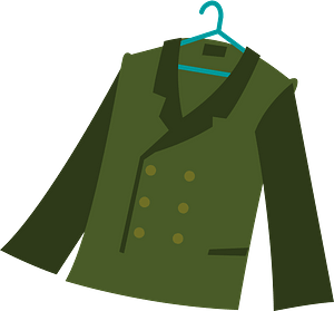 Green Double-breasted Jacket on a Clothes Hanger clipart