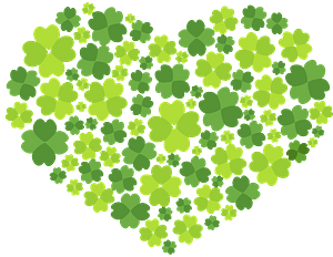 Clover Leaves in a Heart Shape clipart