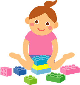 Little Girl Playing with Construction Toys clipart