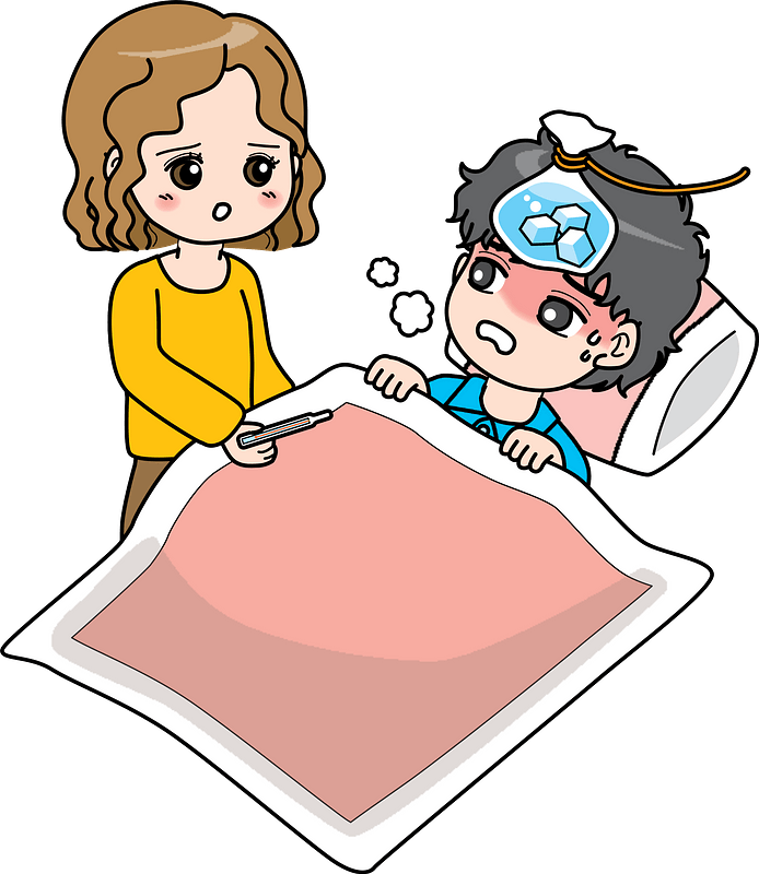 Couple is Sick with Fever and Cold clipart