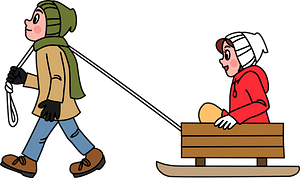 Man is Pulling Woman on a Sled clipart