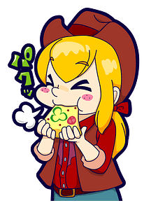 Cowgirl is Eating Pizza clipart