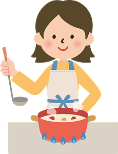 Woman is Cooking Cream Stew clipart