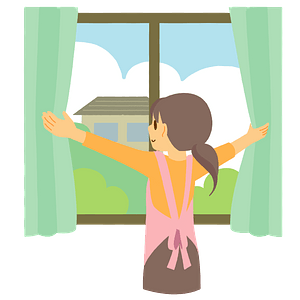 Woman is Opening the Curtains in the Morning clipart