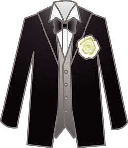 Dinner Jacket, Vest, White Shirt, Bowtie, and Corsage clipart